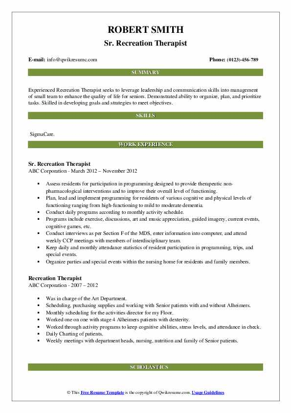 Sr. Recreation Therapist Resume Sample