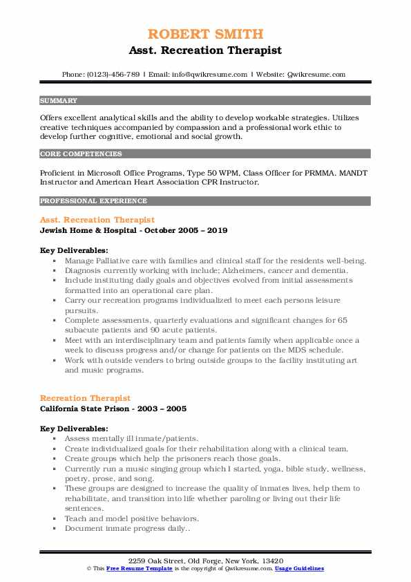Asst. Recreation Therapist Resume Example