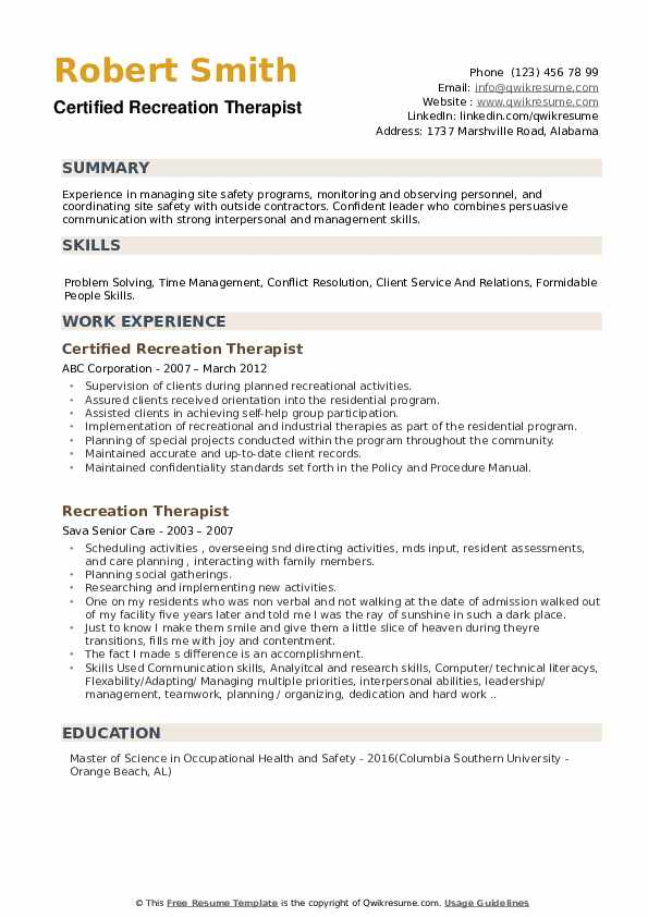 Certified Recreation Therapist Resume Model