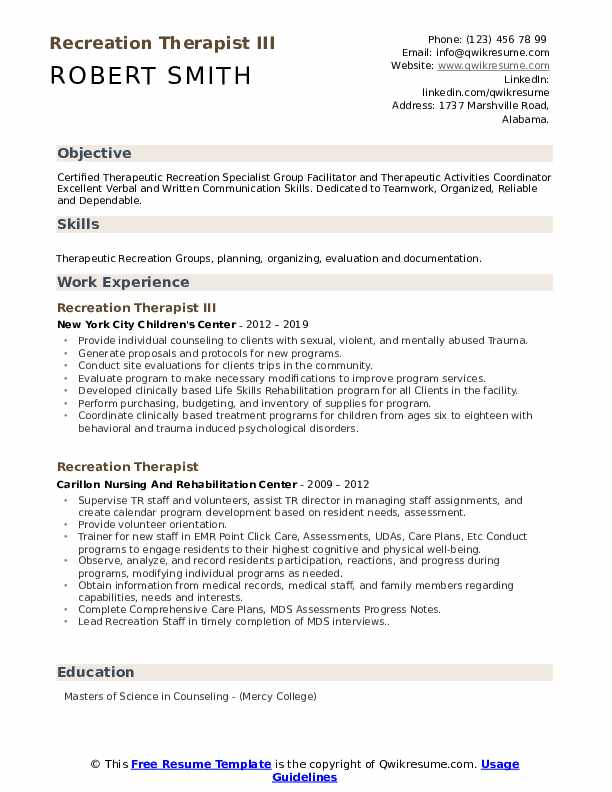Recreation Therapist III Resume Example