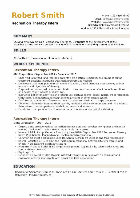 Recreation Therapy Intern Resume example