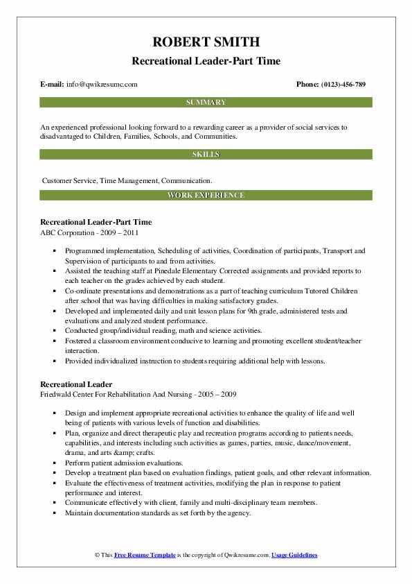 Recreational Leader-Part Time Resume Sample