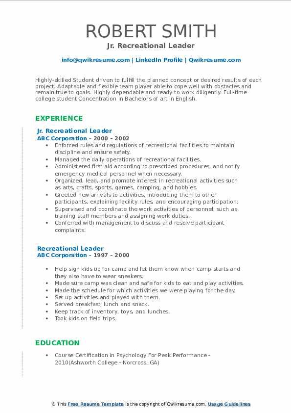 Jr. Recreational Leader Resume Example