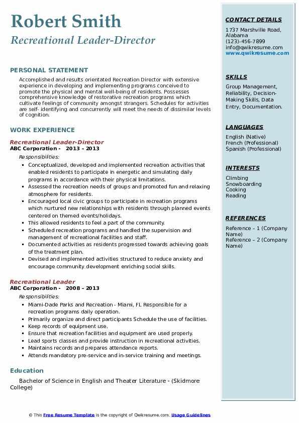 Recreational Leader-Director Resume Example