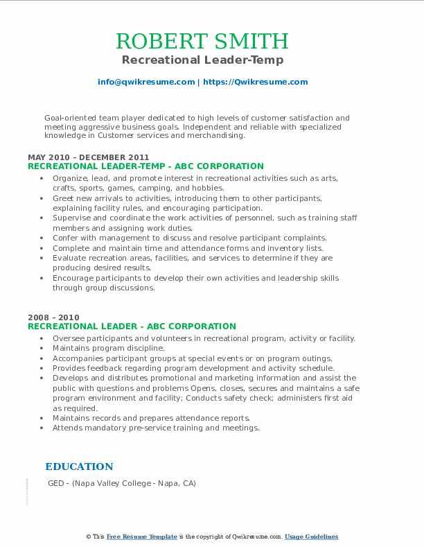 Recreational Leader-Temp Resume Format