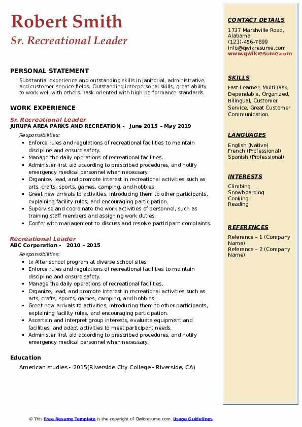 Sr. Recreational Leader  Resume Model