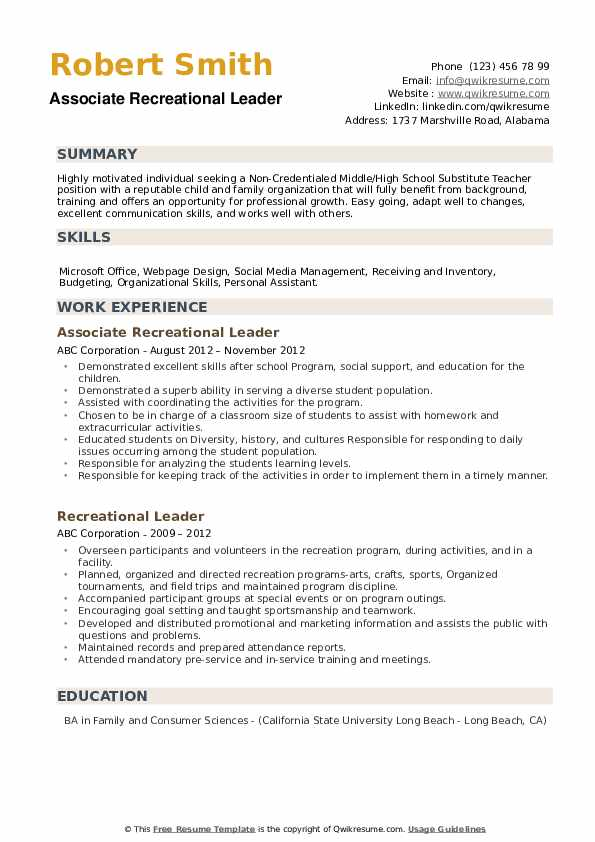 Associate Recreational Leader Resume Model