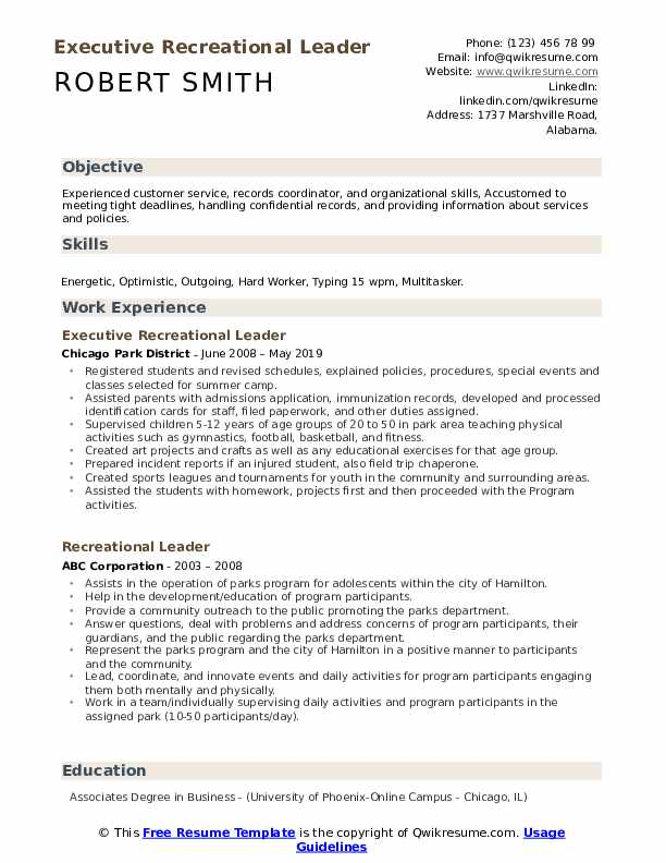 Executive Recreational Leader Resume Sample
