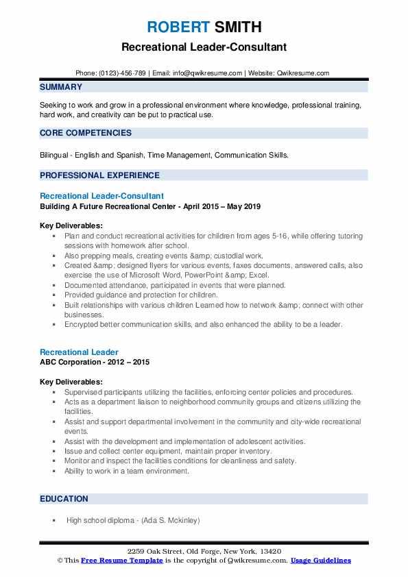 Recreational Leader-Consultant Resume Example