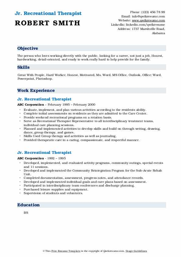Recreational Therapist Resume Samples | QwikResume