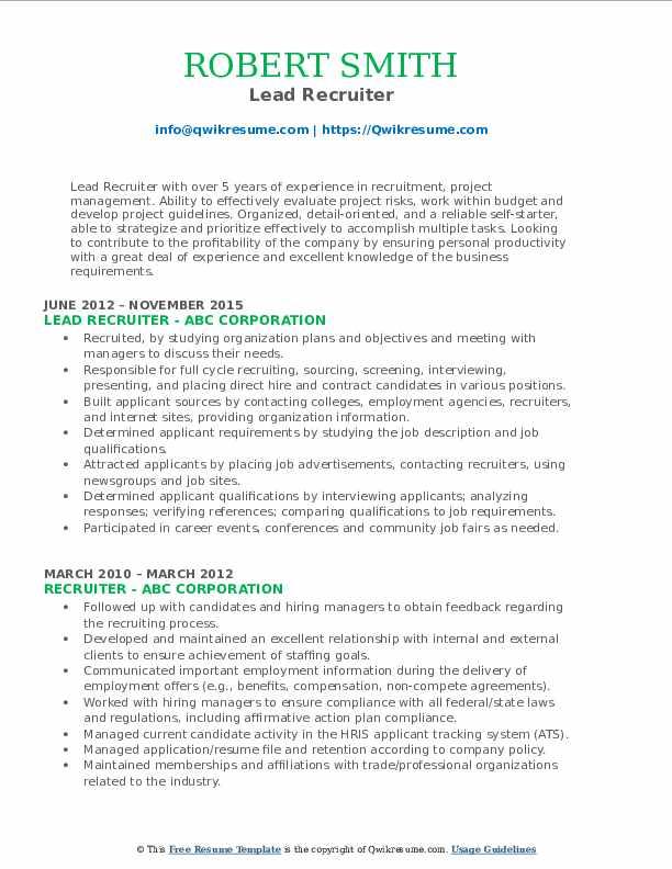recruiter resume samples