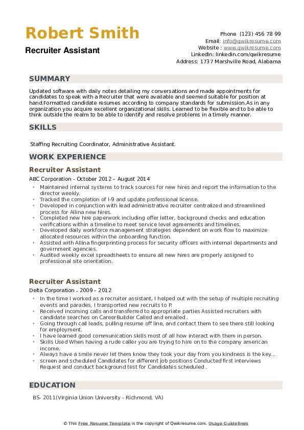 Recruiter Assistant Resume example