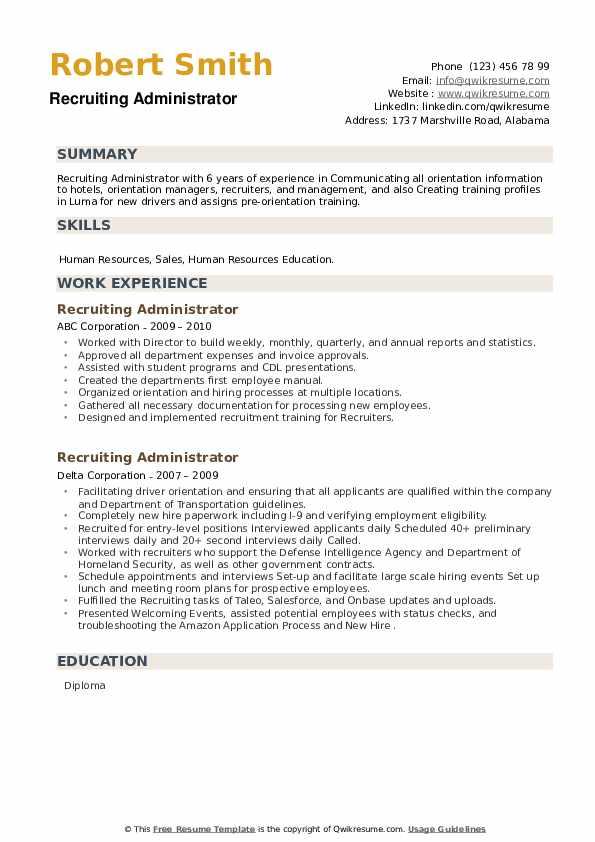 Recruiting Administrator Resume example