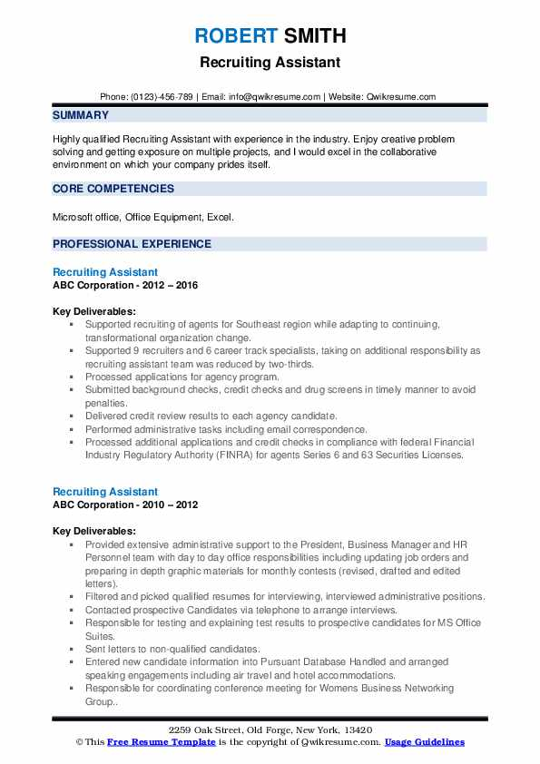 Recruiting Assistant Resume example