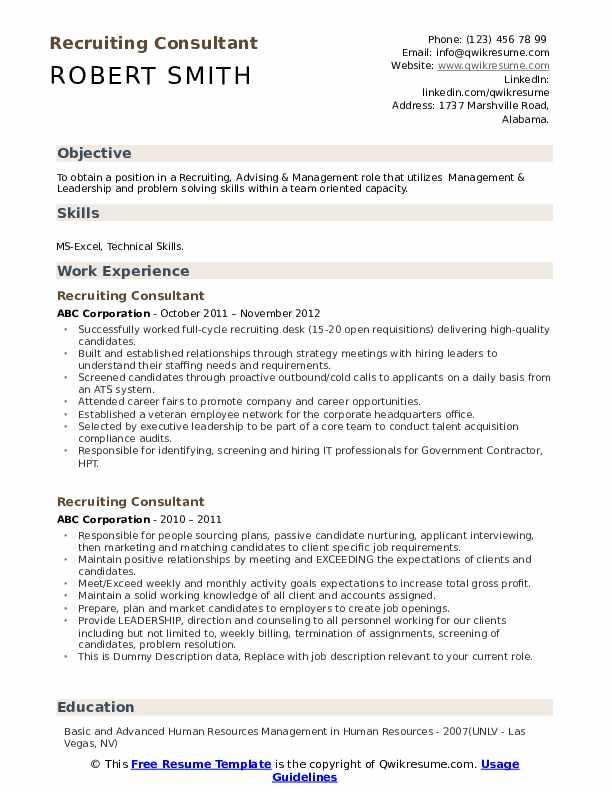 Recruiting Consultant Resume example