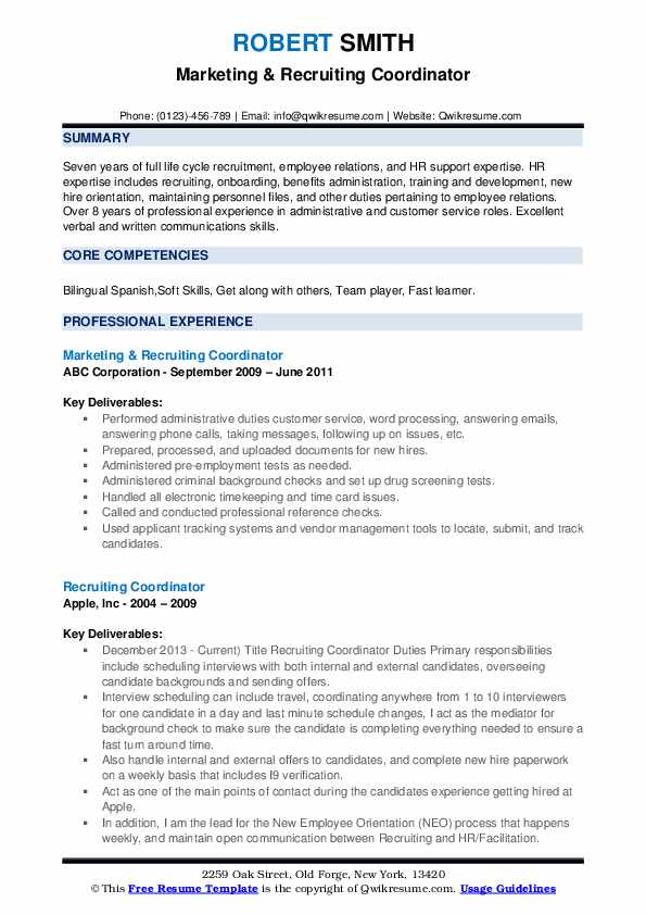 Recruiting Coordinator Resume Samples Qwikresume