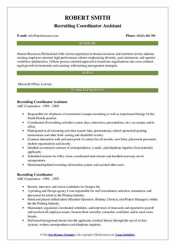 Recruiting Coordinator Assistant Resume Model