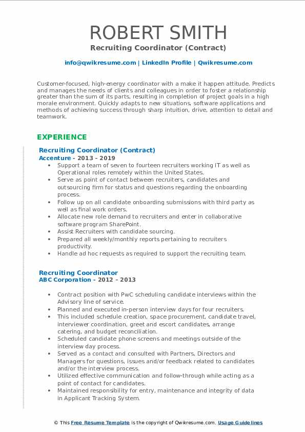 Recruiting Coordinator (Contract) Resume Format