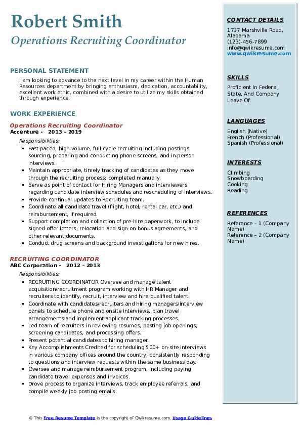 Operations Recruiting Coordinator Resume Sample