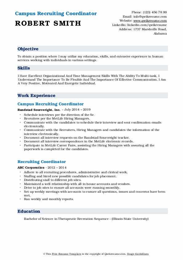 Campus Recruiting Coordinator Resume Sample