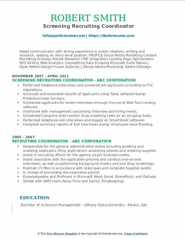 Screening Recruiting Coordinator Resume Sample