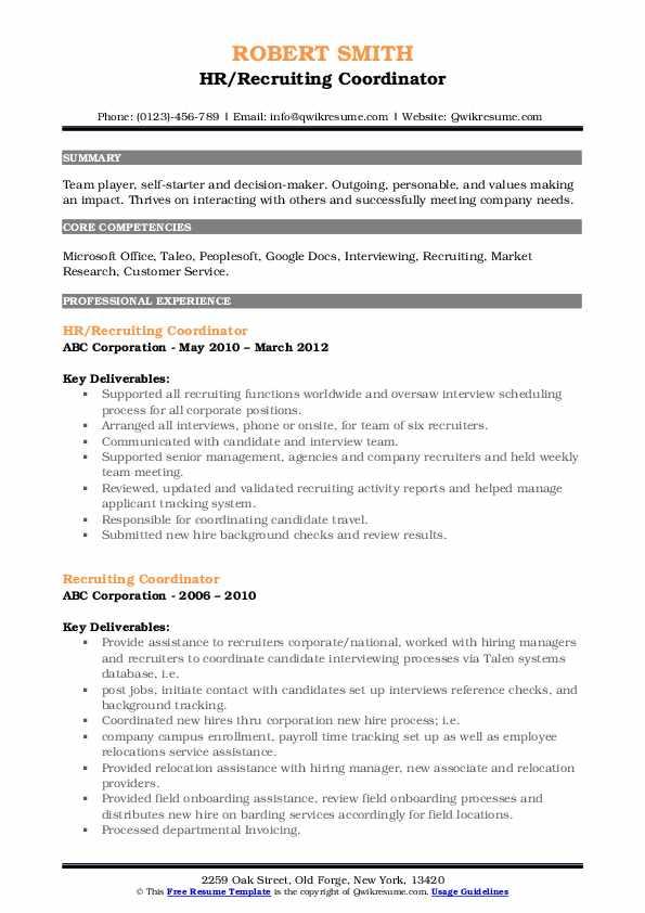 HR/Recruiting Coordinator Resume Model