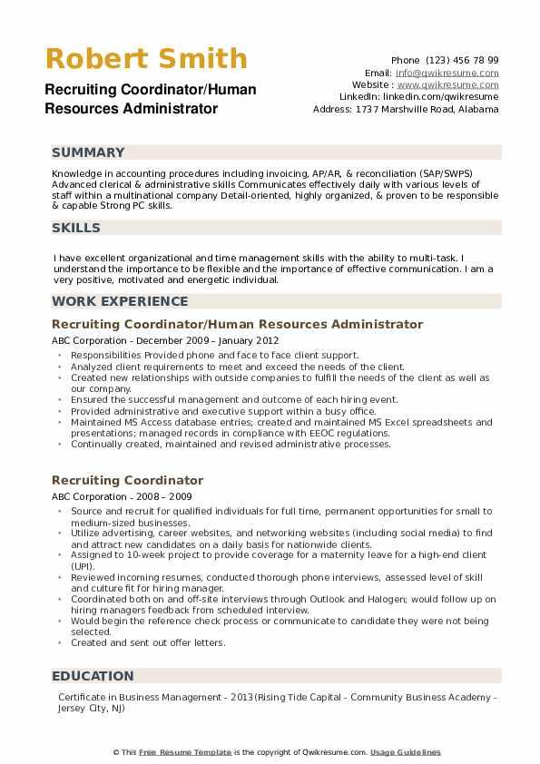 Recruiting Coordinator/Human Resources Administrator Resume Template