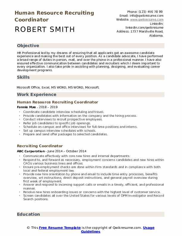 Recruiting Coordinator Resume Samples | QwikResume