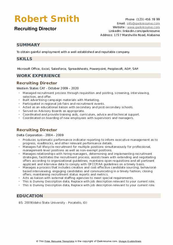 Recruiting Director Resume example