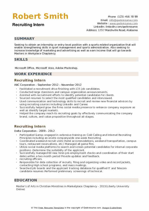 Recruiting Intern Resume example