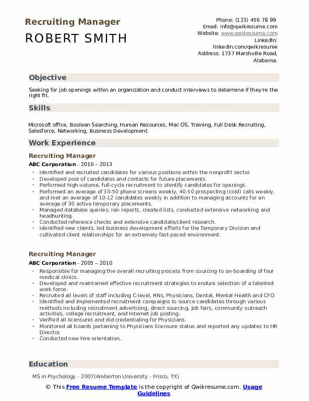 Recruiting Manager Resume Sample