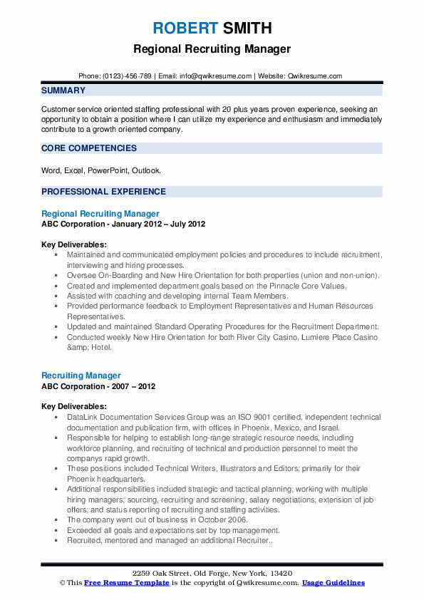 Regional Recruiting Manager Resume Example