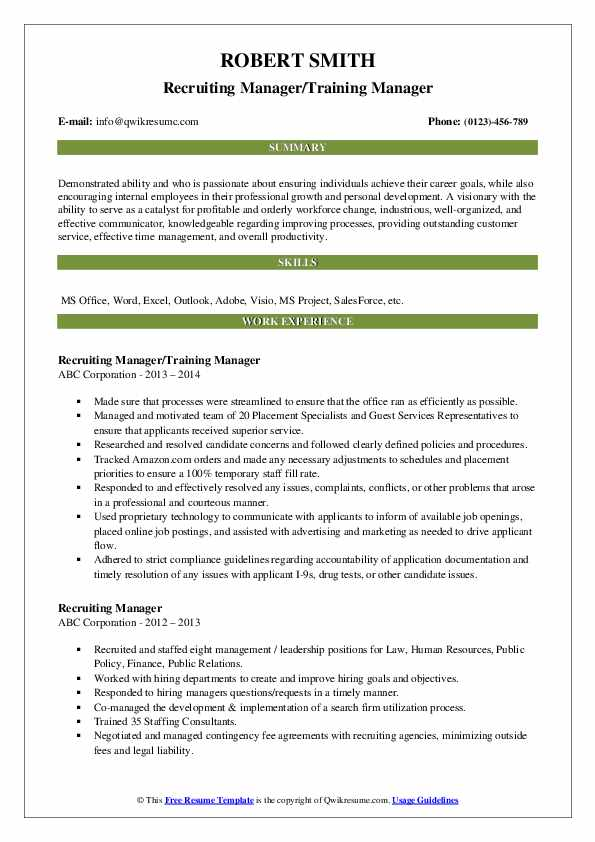 Recruiting Manager/Training Manager Resume Template