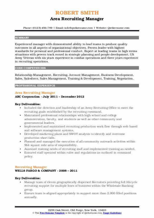 Area Recruiting Manager Resume Template