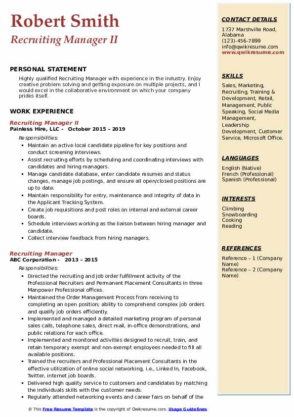 Recruiting Manager II Resume Model
