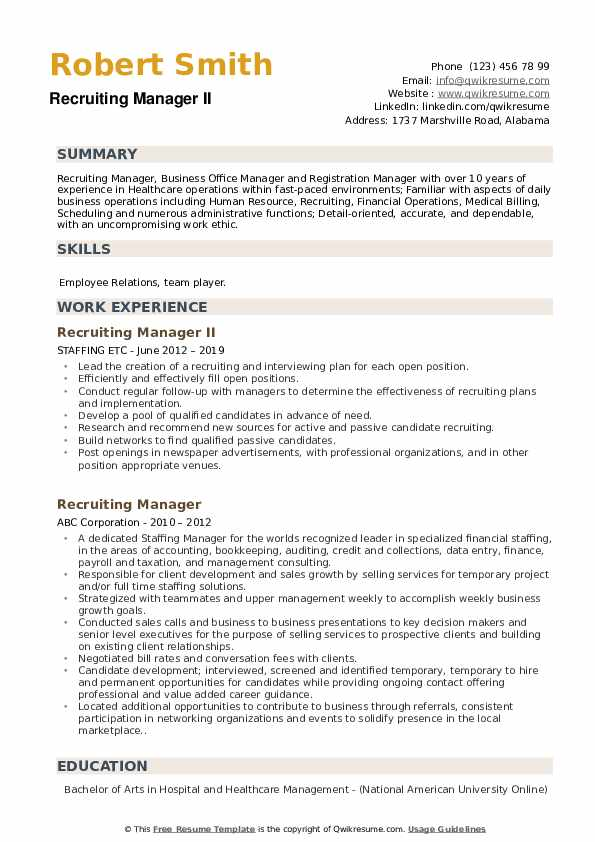 Recruiting Manager II Resume Format