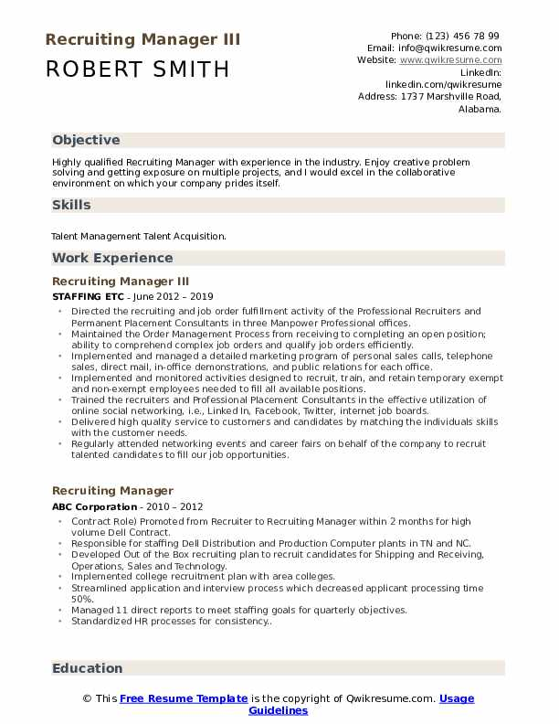 Recruiting Manager III Resume Format