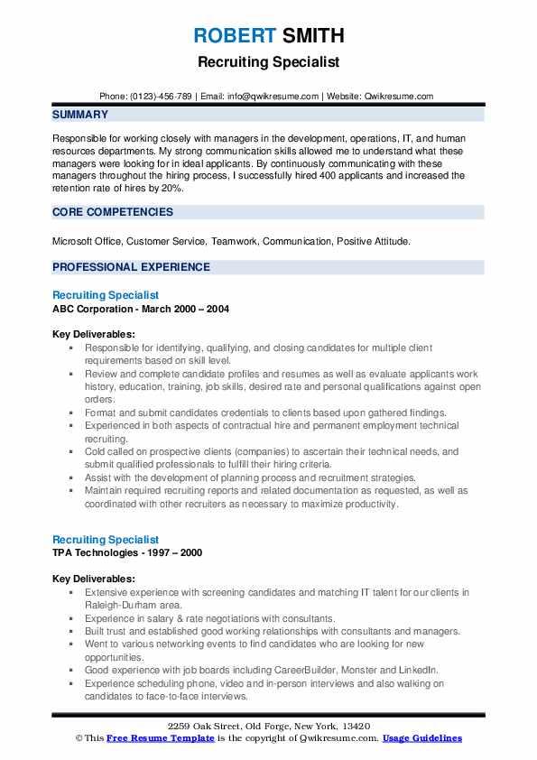 Recruiting Specialist Resume example