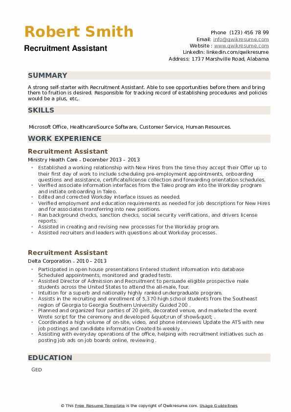 Recruitment Assistant Resume example