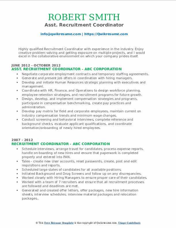 recruitment coordinator resume samples  qwikresume