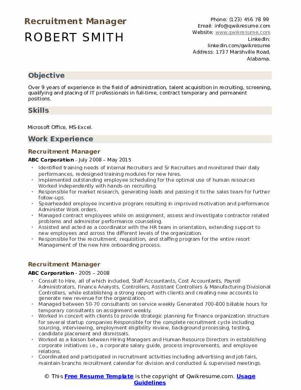 recruitment manager resume samples