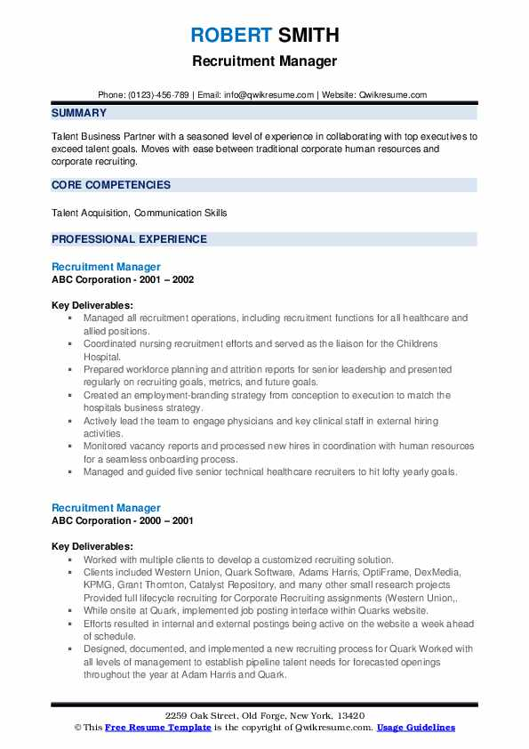 Recruitment Manager Resume example