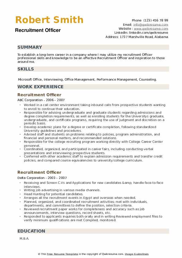Recruitment Officer Resume example