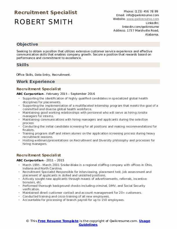 Recruitment Specialist Resume Format