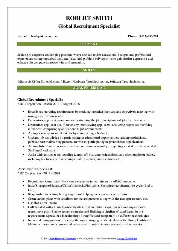 Global Recruitment Specialist Resume Example