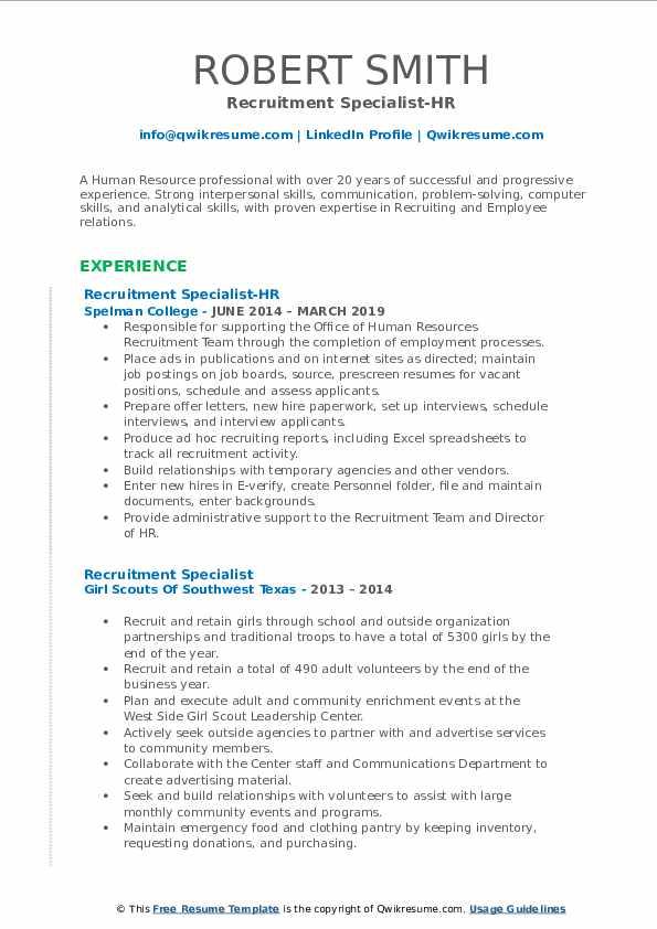 Recruitment Specialist-HR Resume Template