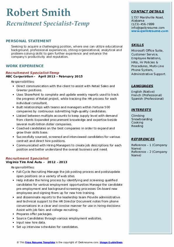 Recruitment Specialist-Temp Resume Example
