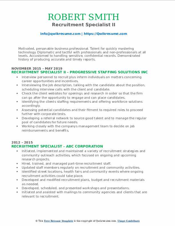 Recruitment Specialist II Resume Format