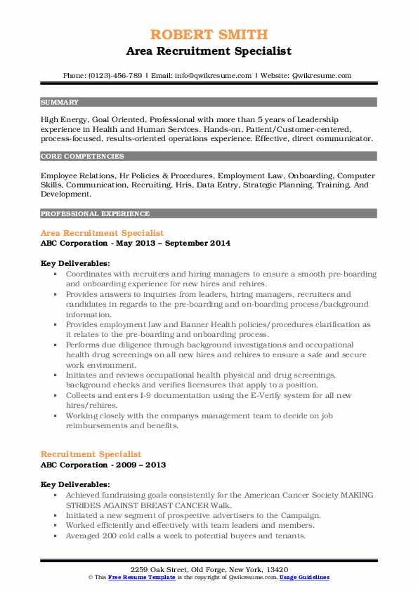 Area Recruitment Specialist Resume Template