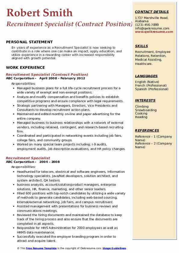 Recruitment Specialist (Contract Position) Resume Model